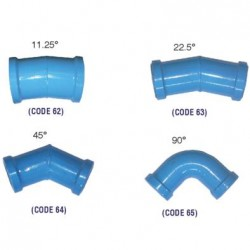 BLUE EPOXY COATED BENDS 22.5 deg 90MM
